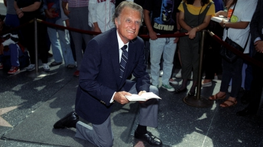 Billy Graham at his star on the Walk of Fame