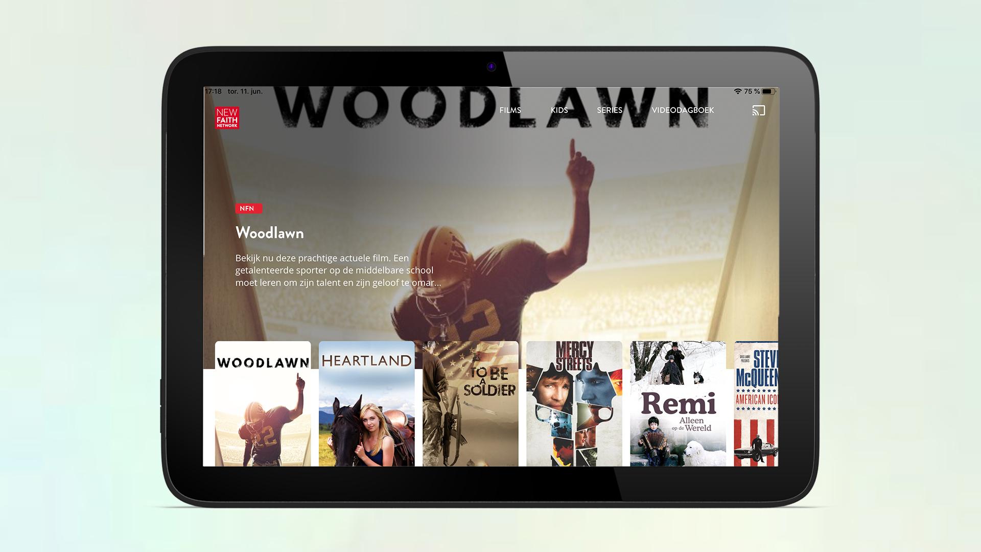 Voorbeeld van tablet homepagina