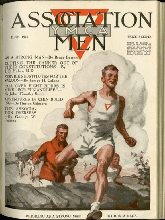 Omslag YMCA magazine juni 1919. Tekening van mannen die een hardlooprace rennen.